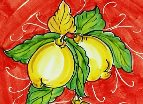 Positano ( limoni su fondo colorato )