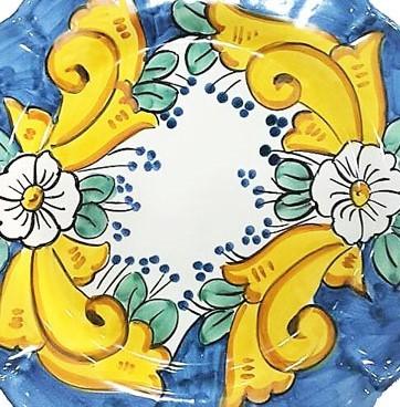 Ravello ( barocco giallo e fiore bianco su fondo colorato )