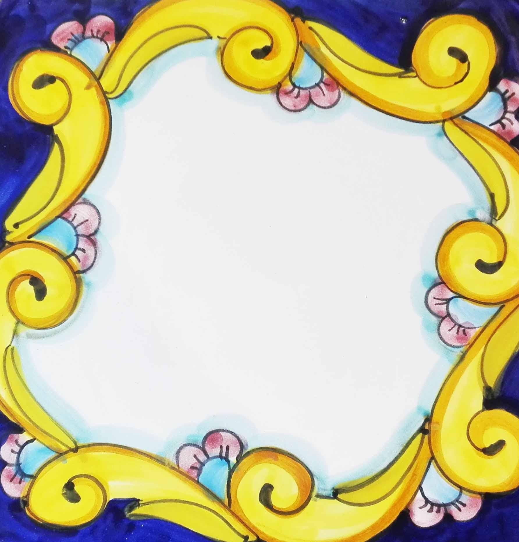 Barocco nuovo ( fregio giallo continuo e fiorellino su fondo colorato )