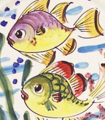 mare ( fondale marino con pesci e corallo e sfumature di celeste )